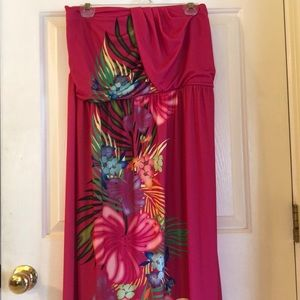 Lane Bryant floral maxi strapless dress